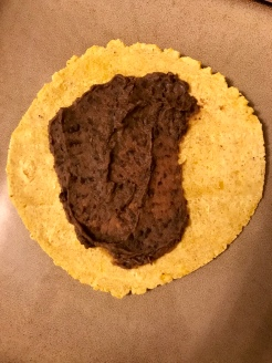 a smear of black bean spread